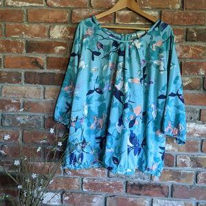 JunaRose Floral Lightweight 3/4 Sleeve Blouse